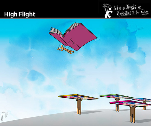 Cartoon: High Flight (medium) by PETRE tagged books,pdf,readers,reading,sensation,smartphones