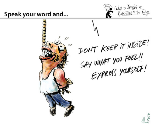 Cartoon: Speak your word and... (medium) by PETRE tagged freedom,speachless