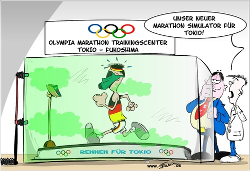 Cartoon: Marathon  Trainingslager (medium) by Trumix tagged tokio,trainingslager,olympia,fukushima,ioc,strahlung,abfall,radioaktivität,olympia,trainingslager,tokio,fukushima,ioc,strahlung,abfall,radioaktivität,trainingscenter,simulator,läufer,marathon