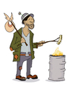 Cartoon: Hobo (small) by gartoon tagged vagabond,hobo,men,homlessnes