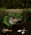 Cartoon: Sump Sup (small) by RyanNore tagged crocodile swamp toad frog skeleton