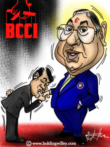 Cartoon: N srinivasan. BCCI president (medium) by crowpoint tagged india,sachin,tendulkar,ian,bell,lillee,cricket,ashes,fast,bowling,bodyline,aussie,australia,england,clarke,urn,oval,bcci,godfather,don,kiss