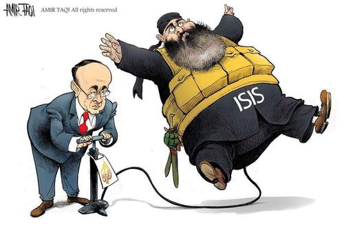Cartoon: ISIS-Al Jazeera (medium) by Amir Taqi tagged jazeera,isisal