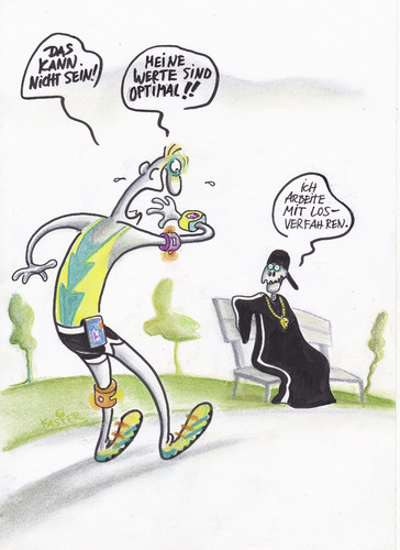 Cartoon: selbstoptimierung (medium) by Petra Kaster tagged alter,tod,selbstoptimierung,fitness,sport,fitnesswahn,sport,fitness,selbstoptimierung,tod,alter,fitnesswahn