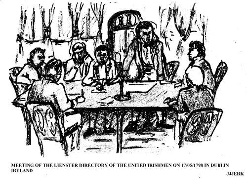 Cartoon: Meeting on United Irishmen 1798 (medium) by jjjerk tagged rebellion,1798,united,irishmen,ireland,irish,cartoon,caricature,table