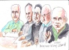 Cartoon: Bellcamp Village Art Group (small) by jjjerk tagged darndale bellamp village art group cartoon caricature green blue pencil glasses irish ireland
