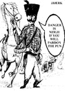 Cartoon: Danger is neigh (small) by jjjerk tagged danger is neith faith of our fathers cavalier horse cartoon france french cannon gun sabre