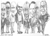 Cartoon: Eight Bell Art Group members (small) by jjjerk tagged bell art group darndale cartoon caricature glasses irish ireland artists painters