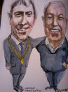 Cartoon: Mayor Andrew Montague and Harry (small) by jjjerk tagged mayor,dublin,ireland,harry,chain