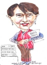 Cartoon: Newspapers (small) by jjjerk tagged burma newspapers cartoon caricature aung san suu kyi red scarf