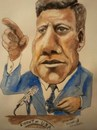 Cartoon: President John F kennedy (small) by jjjerk tagged president,john,kennedy,america,usa,microphone,blue,tie,cartoon,caricature,portrait,assassination,dallas,politition,world,leader,statesman