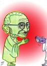 Cartoon: mahatma gandhi (small) by Hossein Kazem tagged mahatma,gandhi
