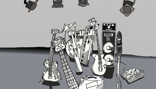 Cartoon: Where is the humans? (medium) by tonyp tagged arp,music,humans,guitar,organ,drums,arptoons