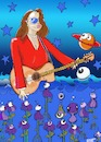 Cartoon: LADY IN RED (small) by tonyp tagged arp lady flowers guitar music