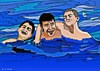 Cartoon: Playing in water (small) by tonyp tagged arp,water,play,arptoons,tony,nathan,justin