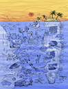 Cartoon: Crazy Scene (small) by Marcelo Rampazzo tagged sea,dive,fish,beach,treasure