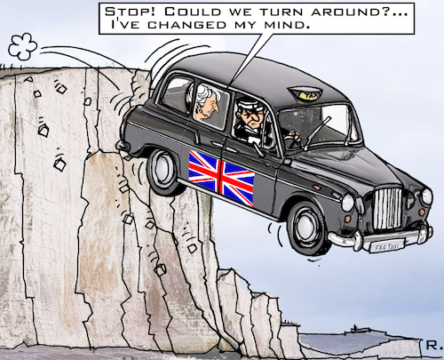 Cartoon: One-Way-Brexit? (medium) by RachelGold tagged uk,brexit,may,tories,change,course,taxi,cliff,dover