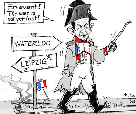 Cartoon: From Leipzig to Waterloo (medium) by MarkusSzy tagged france,sarkozy,elections,final,ballot