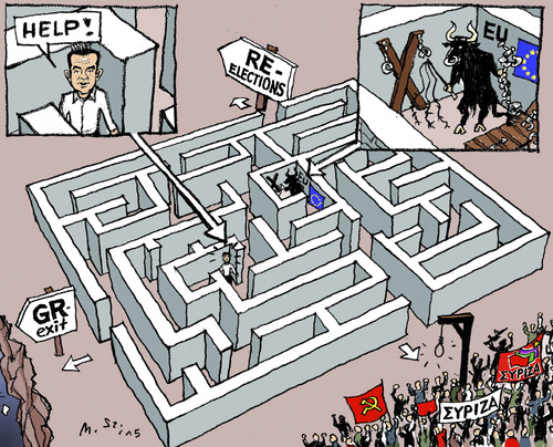 Cartoon: In King Minos Labyrinth? (medium) by MarkusSzy tagged greece,eu,dept,crisis,tsipras,syriza,minos,monotaurus,labyrinth,grexit