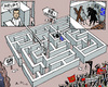 Cartoon: In King Minos Labyrinth? (small) by MarkusSzy tagged greece,eu,dept,crisis,tsipras,syriza,minos,monotaurus,labyrinth,grexit