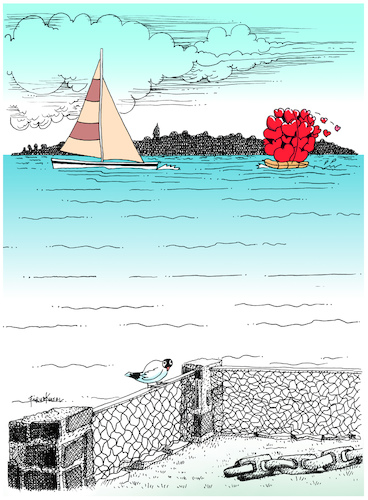 Cartoon: Sending you loves (medium) by firuzkutal tagged love,sea,sending,greeting,firuz,kutal,love,sea,sending,greeting,firuz,kutal