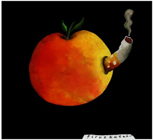 Cartoon: The_apple_knows_too! (medium) by firuzkutal tagged smoking,nonsmoker,cigarette,cigar,flower,despot,despotism,selfish,suppressing,manipulative,package,apple,violence,child,prison