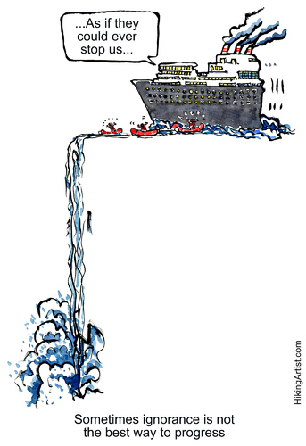 Cartoon: the ship of ignorance (medium) by Frits Ahlefeldt tagged sustainability,ecology,eco,activists,protest,protester,greenpeace,watchdog,ship,society,waterfall,tresshold,turning,point,profit,growth,finance