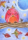 Cartoon: good Night Song (small) by Metalbride tagged eule,vogel,vögel