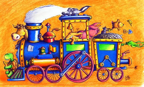 Cartoon: Lokomotive (medium) by Jupp tagged lokomotive,illustration,kinderbuch,tiere,bahn,train,animals