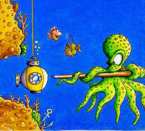 Cartoon: Pool (medium) by Jupp tagged pool,billard,octopus,sea,tiefsee,jupp,cartoon