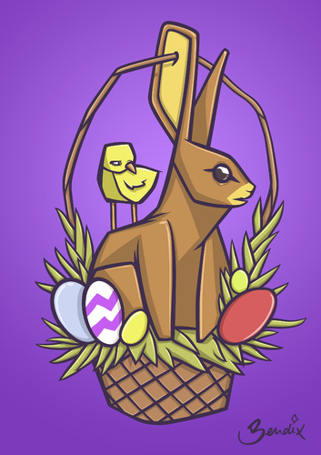 Cartoon: Easter Basket (medium) by Playa from the Hymalaya tagged easter,ostern,basket,korb,osterkorb,rabbit,bunny,hase,osterhase,egg,eggs,ei,eier,osterei,chick,feldgling,küken,holiday,feiertag,animal,animals,tier,tiere