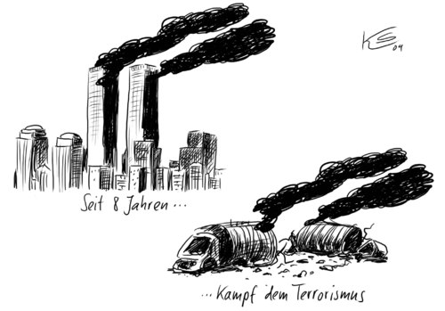 Cartoon: 9-11 (medium) by Stuttmann tagged terrorismus,911,afghanistan,bundeswehreinsatz,terrorismus,911,afghanistan,bundeswehreinsatz,bundeswehr,militär,terror,terroristen,world trade center,new york,anschlag,world,trade,center,new,york