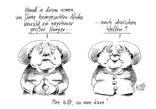 Cartoon: Hunger (medium) by Stuttmann tagged waffen,afrika,merkel,hunger,hunger,angela merkel,waffen,angela,merkel