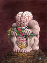 Cartoon: Brain with intestine and dung (small) by ozbek tagged civilisation,environment