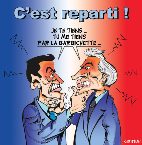 Cartoon: Et dire qu on a pris la Bastille (medium) by CHRISTIAN tagged villepin,sarko,presidentielles,elections