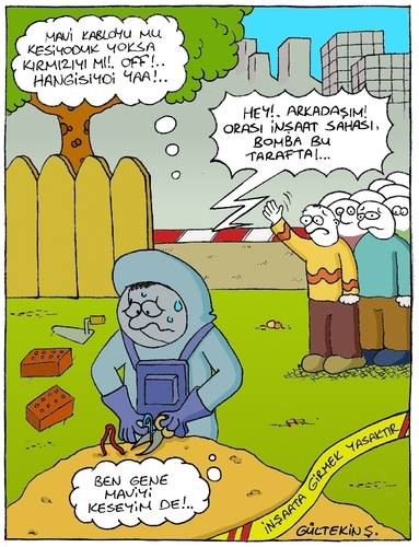 Cartoon: Bomb (medium) by gultekinsavk tagged bomb,construction,area,dismantling,specialist