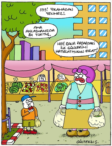 Cartoon: Market Shopping (medium) by gultekinsavk tagged eat,relationship,child,mother,young,be,shopping,market