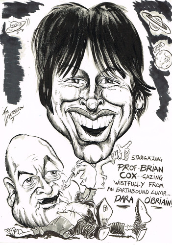 Cartoon: BRIAN COX- DARA OBRIAIN (medium) by Tim Leatherbarrow tagged brian,cox,daraobriain,stars,astronomy