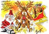 Cartoon: MERRY CHRISTMAS (small) by Tim Leatherbarrow tagged christmas santa claus reindeer