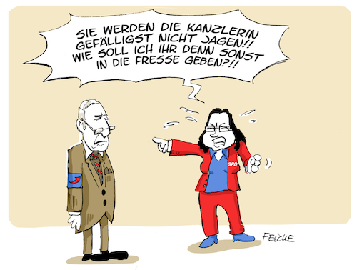 Cartoon: Jagen und Schlagen (medium) by FEICKE tagged proleten,slang,fäkalsprache,bedrohung,gewalt,verrohung,merkel,nahles,gauland,proleten,slang,fäkalsprache,bedrohung,gewalt,verrohung,merkel,nahles,gauland