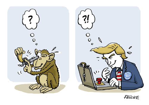 Cartoon: Trump - Do the monkey (medium) by FEICKE tagged trump,usa,america,election,republikaner,affe,monkey,nuke,controller,atom,krieg,waffen,trump,usa,america,election,republikaner,affe,monkey,nuke,controller,atom,krieg,waffen