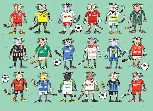 Cartoon: Bundesliga (medium) by belozerov tagged cat,football,fussball,katze,bundesliga,bayern,borussia,leipzig,bayer,wolfsburg,eintracht,werder,hoffenheim,fortuna,hertha,mainz,freiburg,schalke,augsburg,koeln,paderborb,union,ball,meisterschaft
