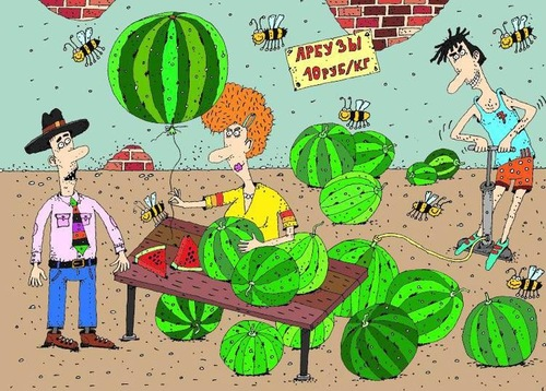 Cartoon: watermelon (medium) by Sergei Belozerov tagged watermelon