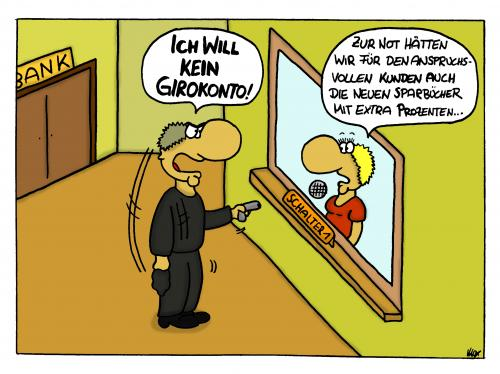 Cartoon: Girokonto (medium) by spass-beiseite tagged girokonto,bank,überfall,pistole,gewehr,polizei,schuss,verbrecher,geld,design,illustration,fun,panel,unterhaltung,bildwitz,witz,pointe,kunst,comicstrips,comictagebuch,tagebuch,comic,cartoons,cartoon,beiseite,spass