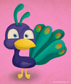 Cartoon: A random Peacock (small) by kellerac tagged kellerac,maria,keller,cartoon,caricatura,peacock,pavoreal,colorful,animal,cute,chibi