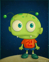 Cartoon: Little Alien (small) by kellerac tagged alien extraterrestre cartoon caricatura maria keller kellerac cute