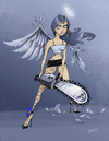 Cartoon: Chainsaw angel (small) by Hellder Gonzales tagged cartoon,angel,chainsaw,color,new,school