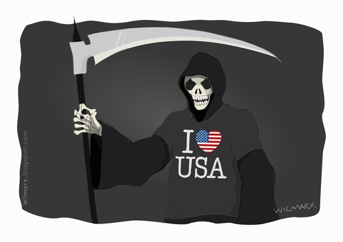 Cartoon: Death loves the United States (medium) by Wilmarx tagged usa,death