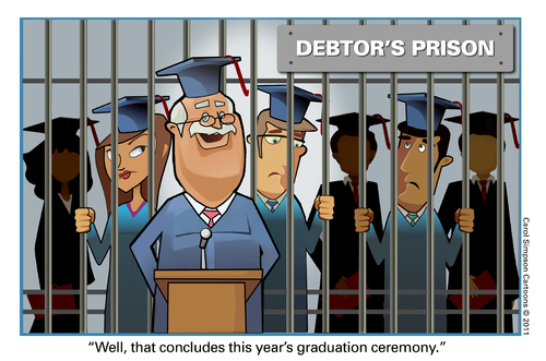 Cartoon: Student Debt in the USA (medium) by carol-simpson tagged debt,students,usa,debtors,prison