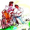 Cartoon: Pedal power (small) by Miro tagged na,coment